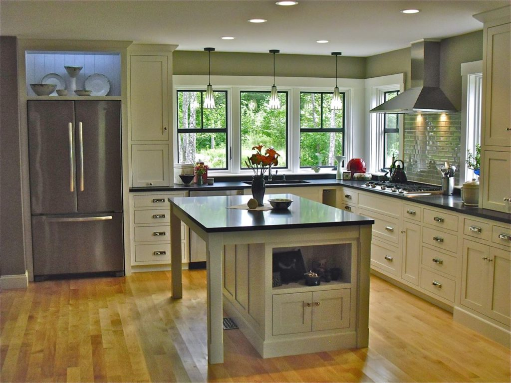 Greg Fitzpatrick Inc - Custom Home Builder - Black White and Maple kitchen