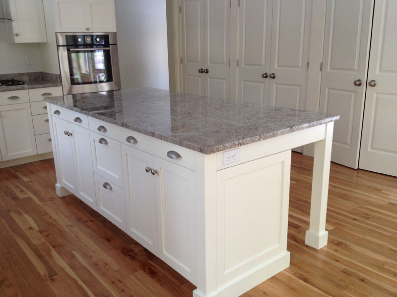 Pretty kitchen island and Red Birch Flooring